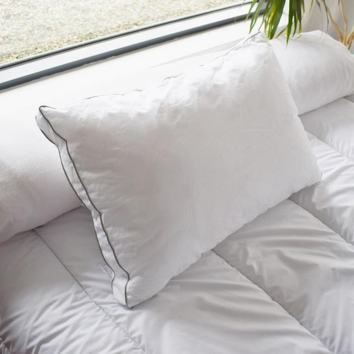 BLEU CALIN Oreiller Sensation duvet Premium - 100% coton percale - 65 x 65 cm