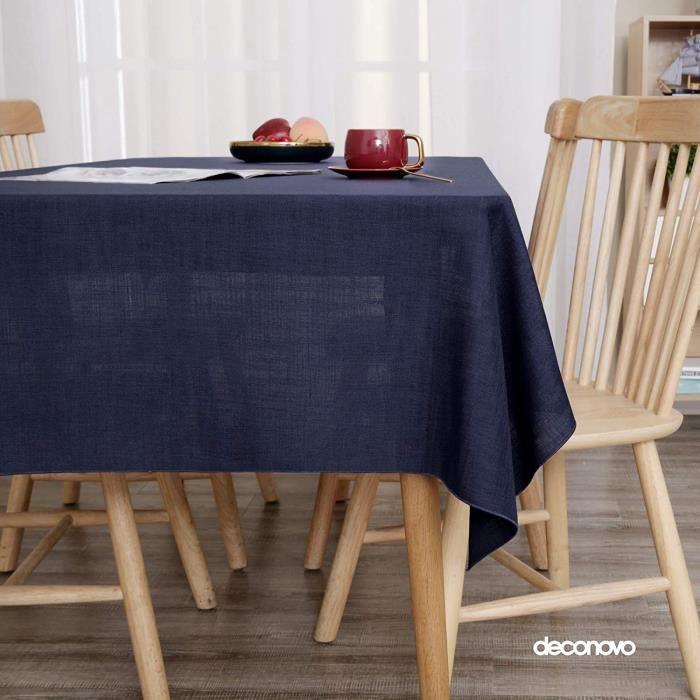Deconovo Nappe Design Effet Lin Bleu Marine Semi Imperméable 132x229cm Nappe Rectangulaire Tissu de Table Chic Fille Salle à Manger