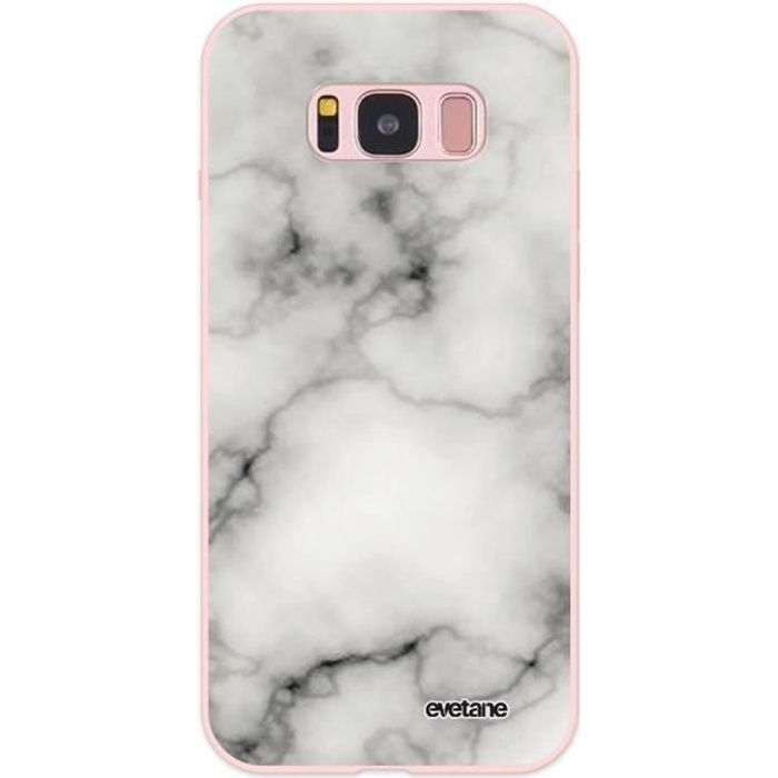 Coque pour Samsung Galaxy S8 Silicone Liquide Douce rose pâle Marbre blanc Ecriture Tendance et Design Evetane