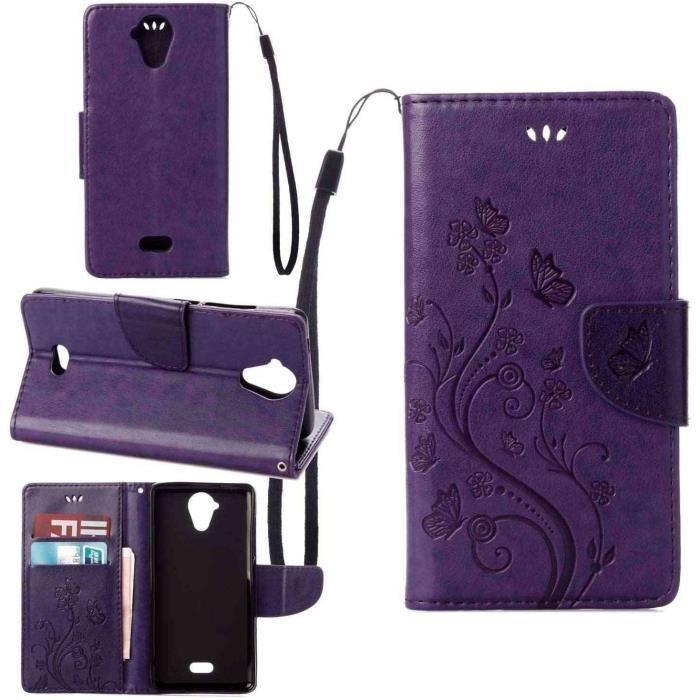 Étui pour Wiko U Feel Lite (5.0 pouce) , pinlu® Haute Qualité ultra-mince Etui Avec slot Pochette Portable Flip Wallet Housse