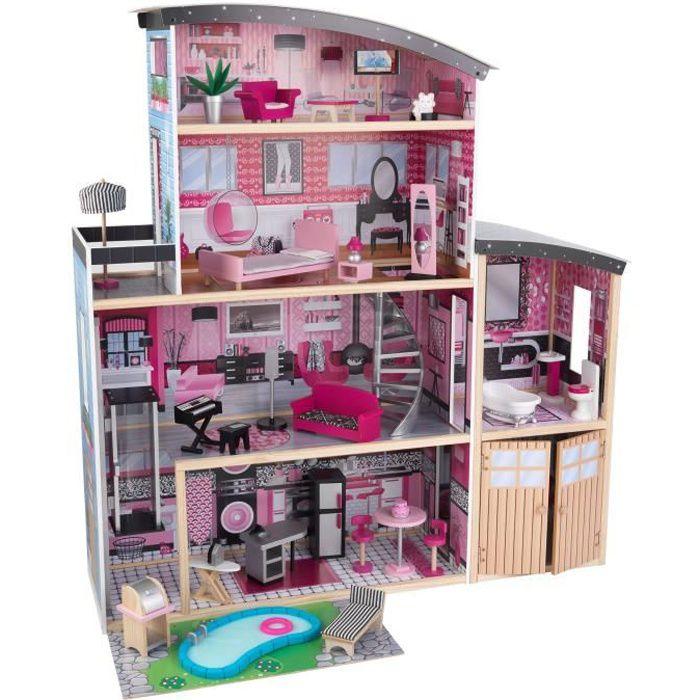 KIDKRAFT - Maison de poupées en bois Sparkle avec 30 accessoires