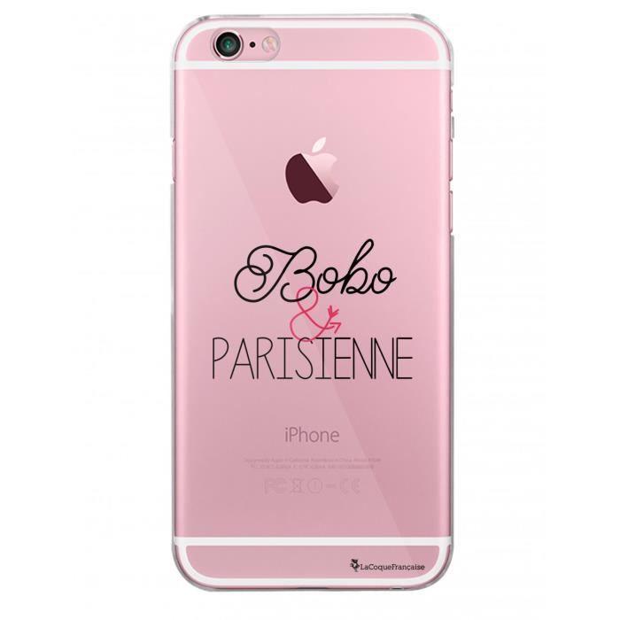 Coque iPhone 6 iPhone 6S rigide transparente Bobo et Parisienne Ecriture Tendance et Design La Coque Francaise