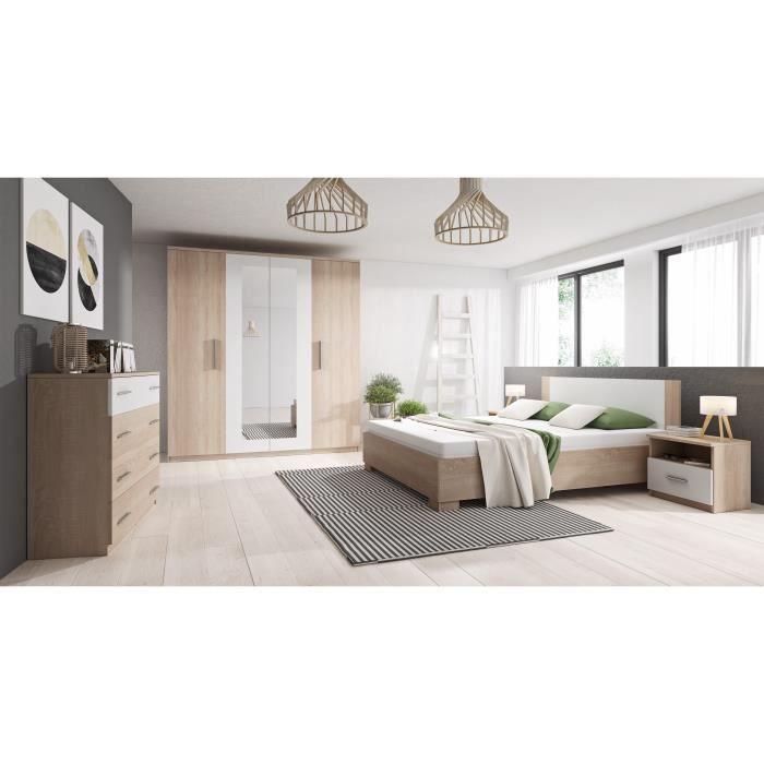 Chambre complète MARCO bois et blanc