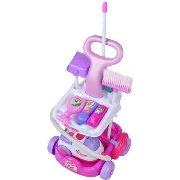 MonMobilierDesign Chariot de ménage, jouet d'imitation pour enfant