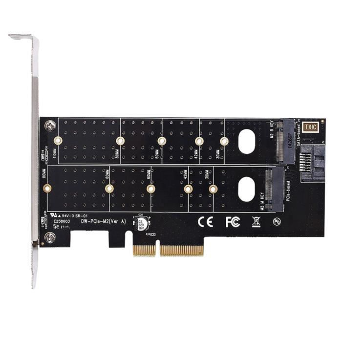 Adaptateur Double M.2 Pie,M2 Ssd Nvme (Touche M) Ou (Touche B) 22110 2280 2260 2242 2230 À Pci E 3.0 X 4 Host Carte D'extension De