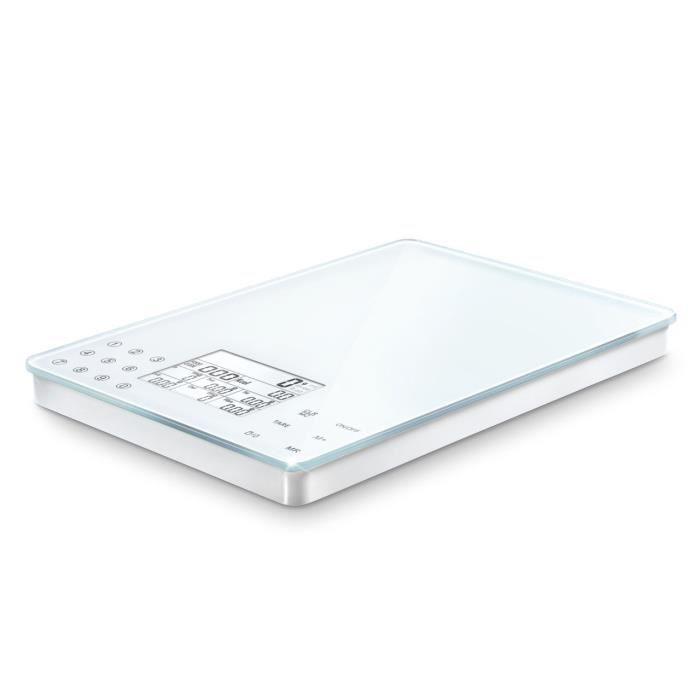 Soehnle 6208317 Balance Electronique Food Control Easy Blanc Plateau Verre 5 Kg - 1 g