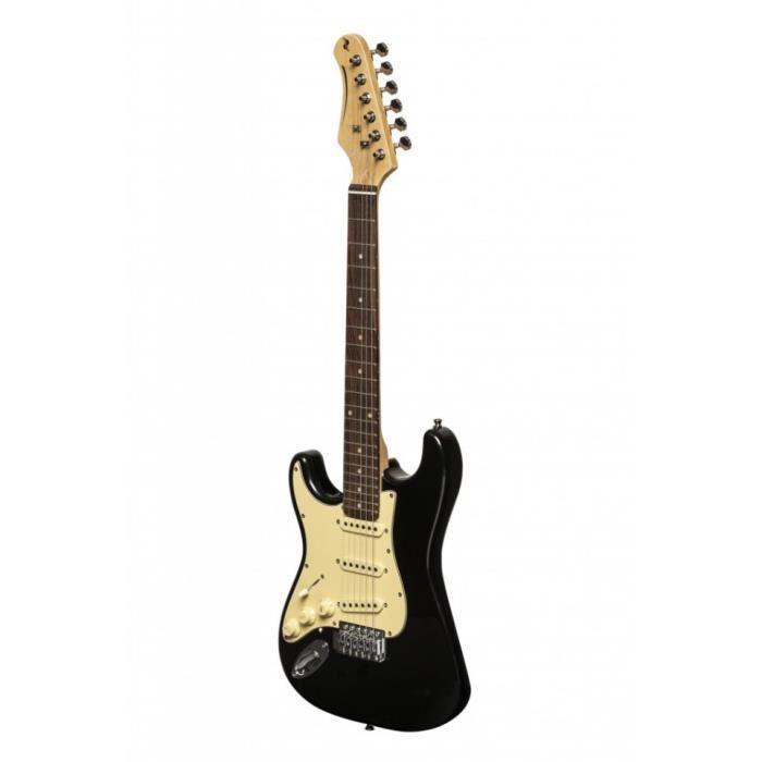 Stagg SES-30 BK 3/4LH - Guitare électrique Standard ''S'' format 3/4, gaucher