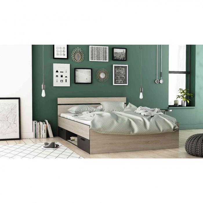 Lit 140x190 en bois chêne brossé et noir - LI171