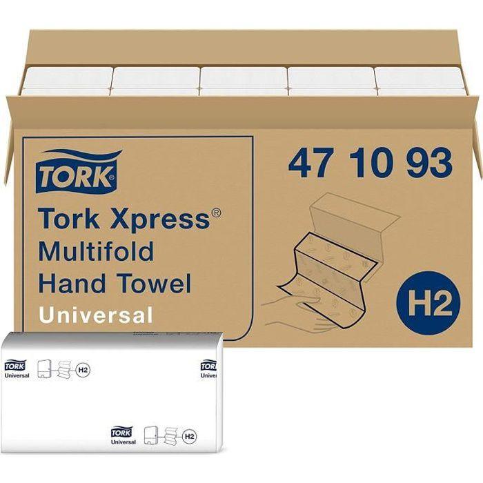 Tork Xpress Essuie-mains interfoliés - 471093 - Papiers d'essuyage pliés en Z, qualité Universal pour Distributeur H2 - Essuie-mains