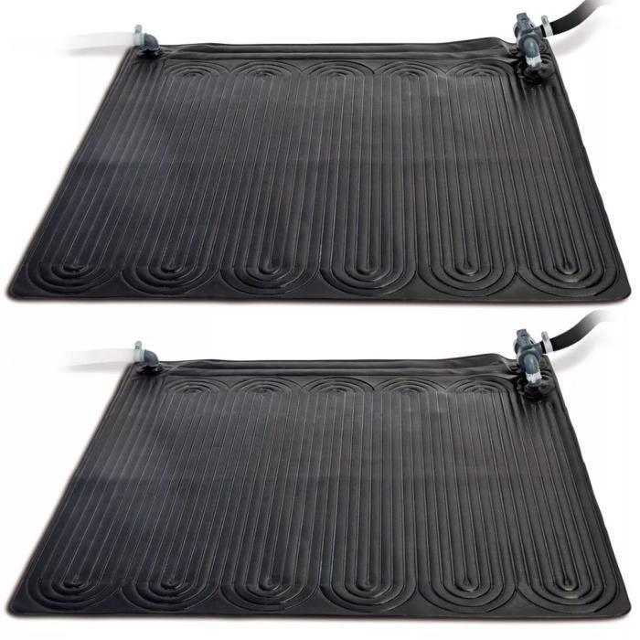 Intex Tapis chauffant solaire PVC 1,2 x 1,2 m 2 pcs Noir
