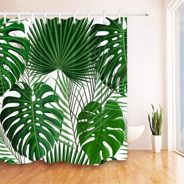 Rideau de Douche Tropical Jungle Plant Rideaux De Salle De Bains Étanche Anti-Moule Vert Feuilles Motif Polyester Tissu Décor À La M