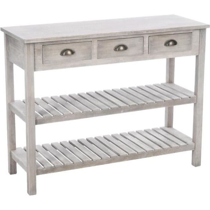 meuble console 3 tiroirs 2 tag res bois patin blanc beige achat vente console meuble. Black Bedroom Furniture Sets. Home Design Ideas