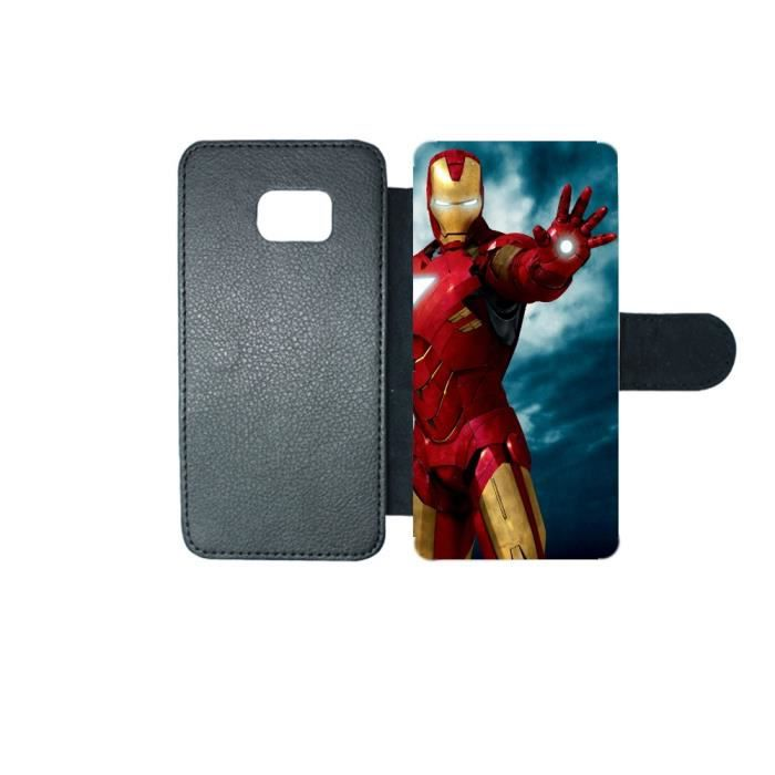 Etui portefeuille originale Marvel iron man 1 swag Samsung Galaxy S6 ... 1f2ad53fb13