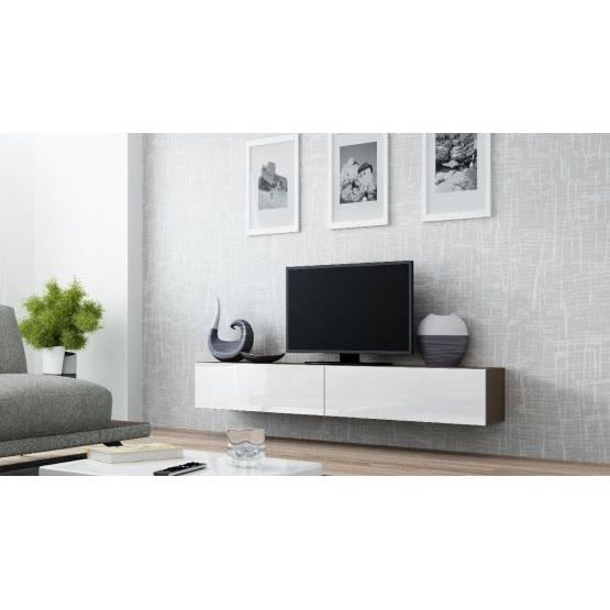 Meuble tv design suspendu vito 180cm taupe et blanc for Petit meuble tv suspendu