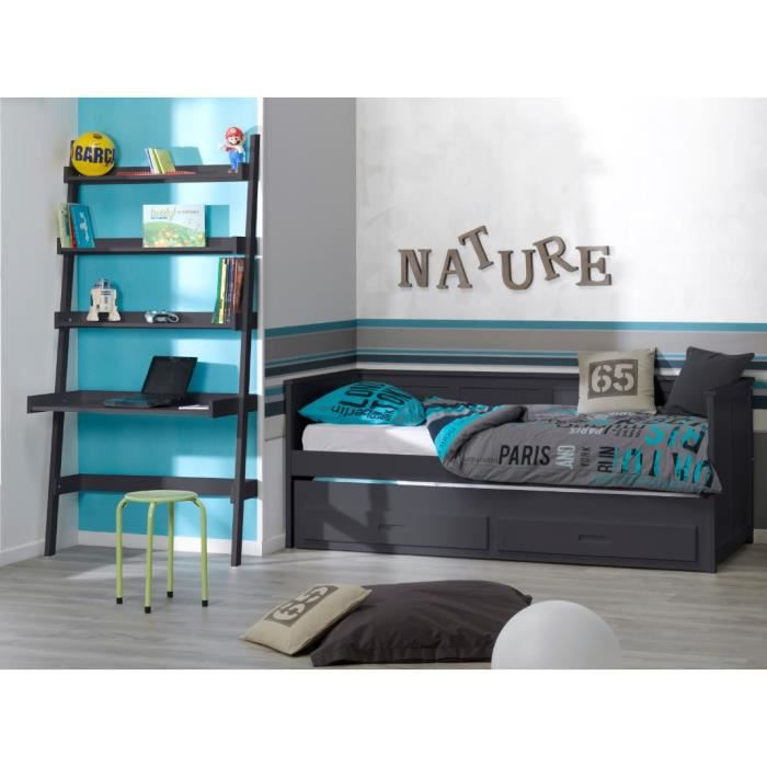 chambre enfant lit gigogne 90x200 et bureau etagere. Black Bedroom Furniture Sets. Home Design Ideas