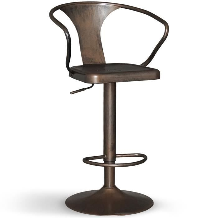 Chaise de bar pivotante gordon bronze achat vente for Achat chaise de bar