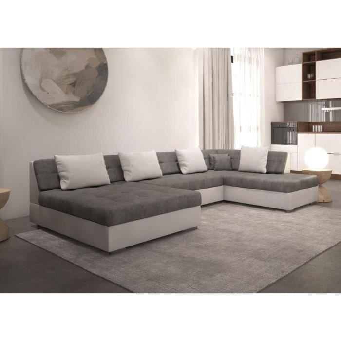 otia canape d angle panoramique et convertible xxl en u en simili et tissu angle droit gris et blanc
