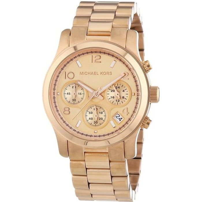 montre chronographe runway rose gold pour dames michael kors. Black Bedroom Furniture Sets. Home Design Ideas