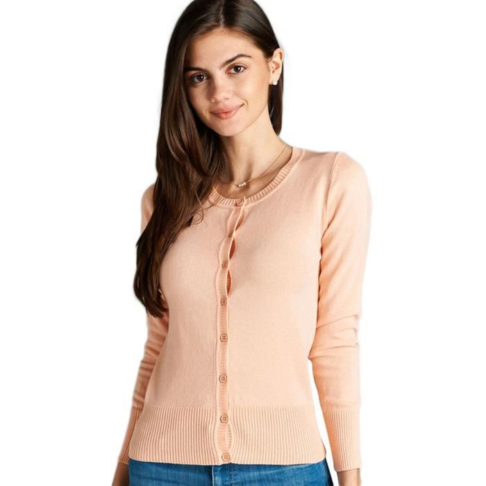 Womens Long Sleeve Button Up Ribbed Crew Neck Cardigan Sweater