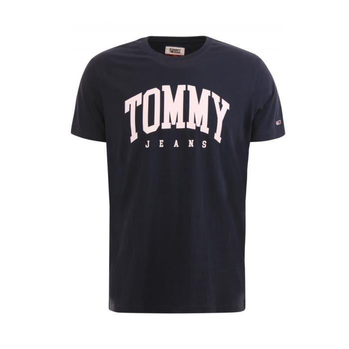 Tommy Hilfiger Homme T-shirt à encolure ras-du-cou à manches longues T-shirt graphique vintage Drapeau Logo
