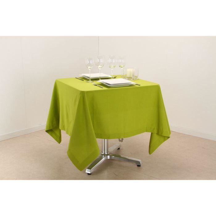 Nappe carr e en vert anis 150 x 150 cm achat vente for Table carree 150 x 150