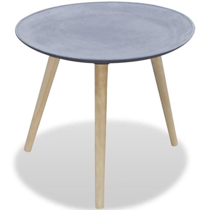Table d 39 appoint ronde table basse gris aspect b ton - Table ronde d appoint ...
