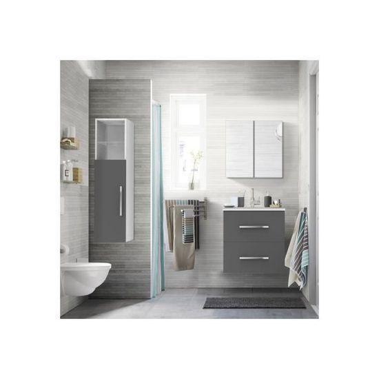 Demi colonne de salle de bain gris et blanc L30 x H119 x P20 ...