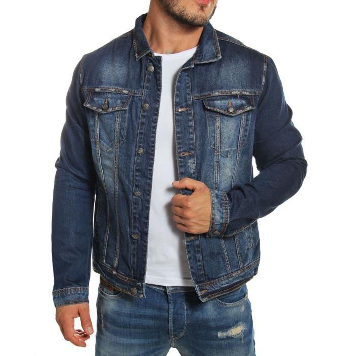 Rerock Veste en jeans homme bleue délavée Bleu Bleu