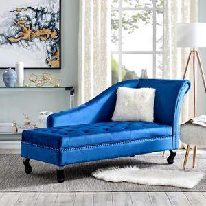 MÉRIDIENNE Canapé méridienne capitonné en velours bleu MONA (