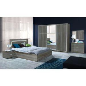 Chambre à coucher complète adulte AURELIO. Lit + armoire + ...