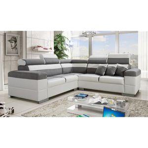 CANAPÉ - SOFA - DIVAN Canapé d'angle Colorado gris et blanc avec têtière