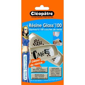 RÉSINE CRÉATIVE Résine Glass'100 avec accessoires - 240 ml - Cl…