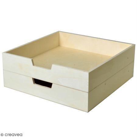 Bac à courrier en bois à décorer - 30 x 30 cm - 2 pcs Corbeille à courrier carré en bois à personnaliser :Lot de 2 pcsMatière :
