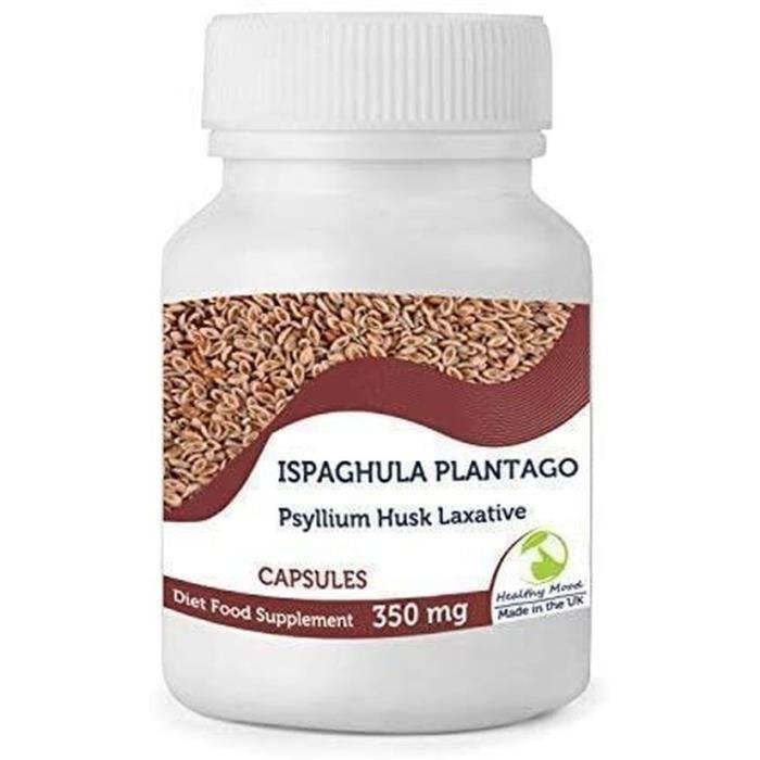 Pure Naturel Ispaghula Plantago Poudre 350mg Tégument de Psyllium Laxatif Régime Nourriture Supplément 60 Capsules Ovato Grain...