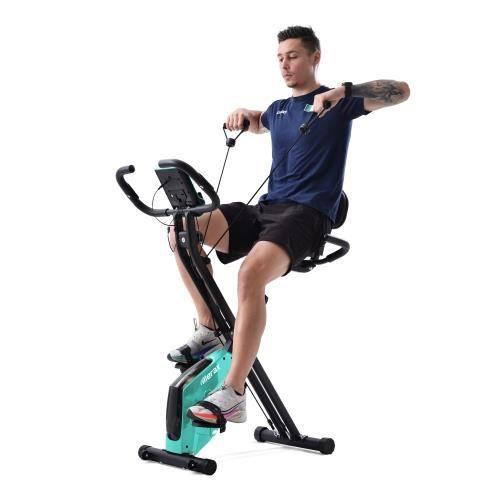 Vélo d'appartement pliable X-Bike vélo de fitness pour vélos d'appartement, siège et dossier rembourrés—BLEU