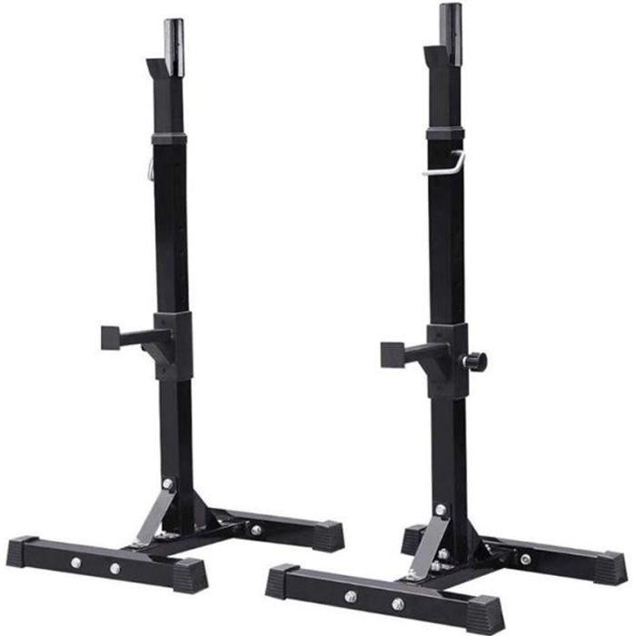FAN RACK Barre Musculation Support pour Haltères Longs à Disques Noir Charge Max. env. 200kg Réglable en Hauteur 15 Positions