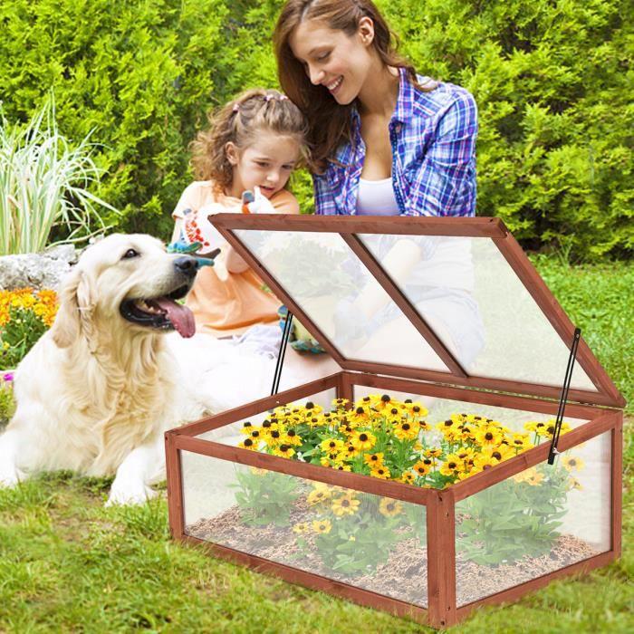 Serre de Jardin en Bois à Tomates Châssis ou Bac à Fleurs pour Plantes Balcon Terrasse Jardin Couleur Blanc 100 x 65 x 40 CM