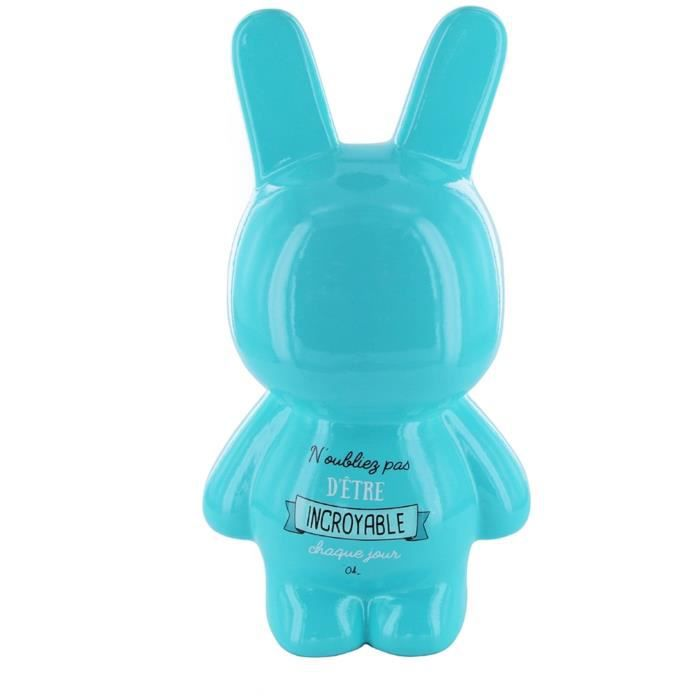 The Concept Factory TI2982 Tirelire Lapin N'oubliez pas d'être incroyable chaque jour Céramique Bleu turquoise H23,6 x 10,2 x 12,8 c