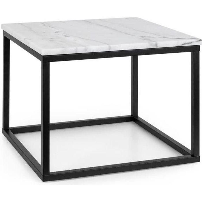 Besoa Volos T50 Table basse pour intérieur & extérieur - 50 x 40 x 50 cm - Plateau marbre noir & blanc
