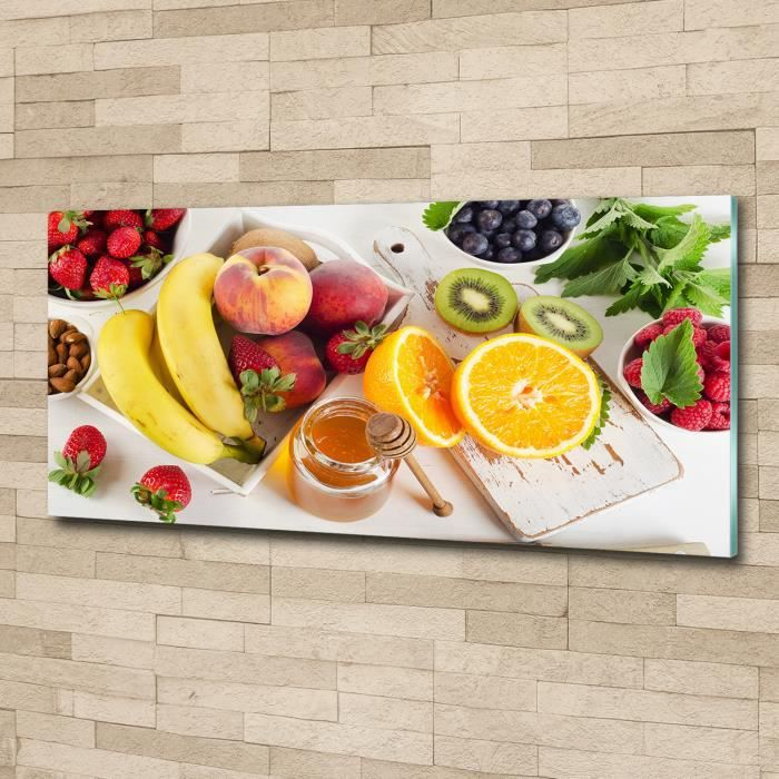 Tulup 125x50cm Tableau sur verre acrylique- Nourriture boissons - Fruits Miel - Multicolore