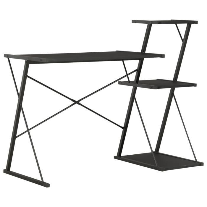 Bureau avec étagère-Table de bureau Étagère de rangement Bureau informatique design industriel Noir 116x50x93 cm
