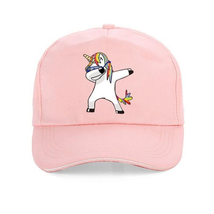 Rose -Harajuku casquette licorne drôle unisexe bande dessinée impression unicornio casquettes de Baseball de haute qualité 100% coto