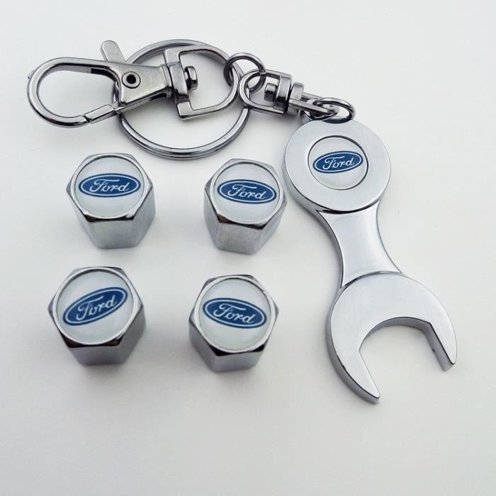 4*Bouchon de valves + Porte-clés ( Chrome ) Blanc logo pour Ford