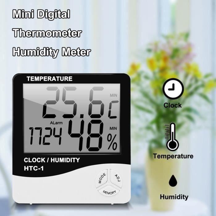 Détails sur Digital LCD Thermomètre Intérieur Hygromètre Humidité Température Horloge Datte
