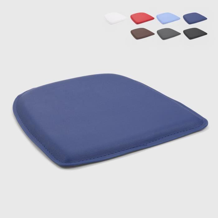 4 Coussins rembourré en simili cuir chaise tolix intérieur et extérieur 32x32 Fix, Couleur: Bleu