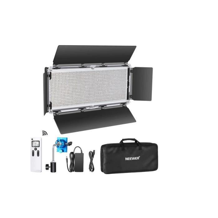 Neewer 2,4G 1320 LED Lampe Vidéo Avancée avec Barndoor, Panneau LED Bicolore à Intensité Variable avec Écran LCD et 2,4G sans Fil po