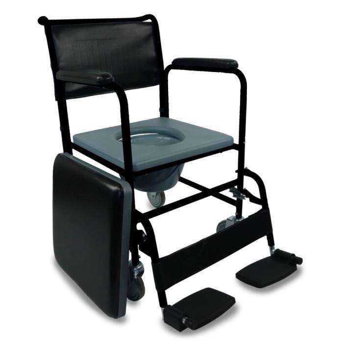 Chaise percée / toilette avec roues et couvercle - Repose-pieds rabattables et accoudoirs amovibles - noir - Barco - Mobiclinic