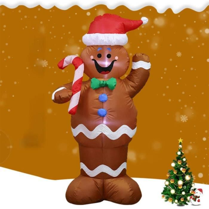 Décorations de Noël,Gonflable De Noël Père Noël Pain D'épice De Neige Homme Décoration Tenez Une Décoration De Bâton De Bonbons pour