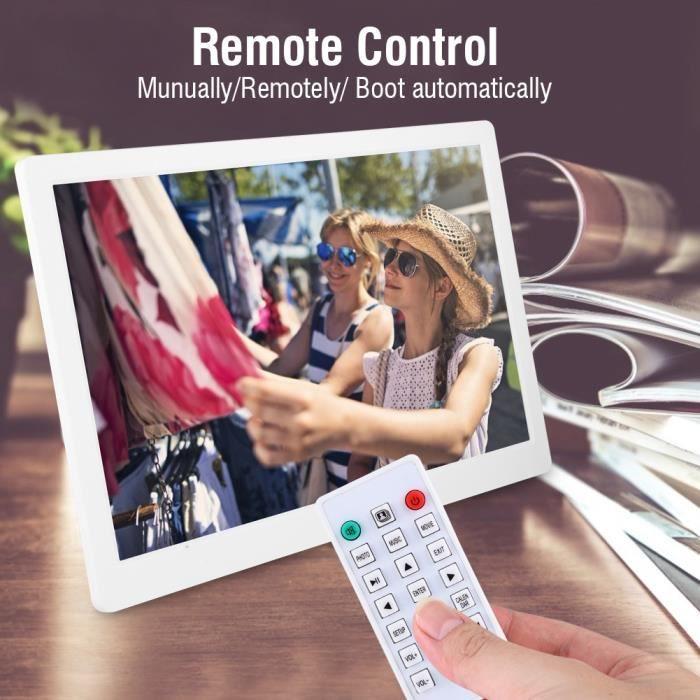 Garosa cadre photo musical 15.4 pouces 1280 * 800HD cadre photo numérique réveil lecteur télécommande blanc ue
