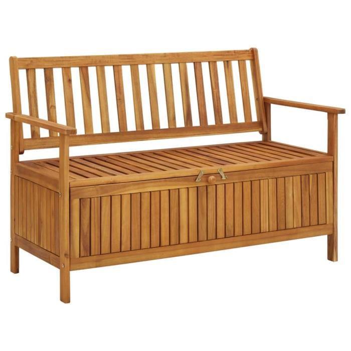 Style Essentiel- Banc avec Espace de Rangement, Banquette de jardin, Siège, Coffre de Rangement, 120 cm Bois d'acacia solide ®6361®
